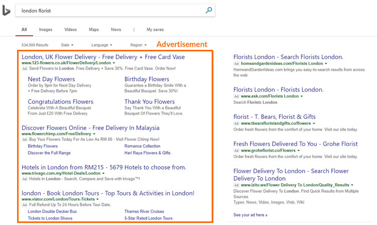 Example Bing ads