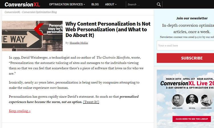 Beispiel - Peep Laja hat Conversion XL Blog in 2011 erstellt und ist heute eine der führenden Marken für UX-Designs und Web-Optimierung.