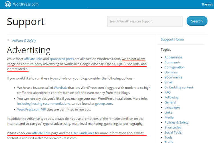 Screen captured from WordPress Advertising Policy Page.