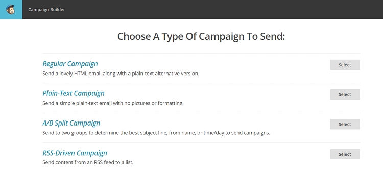 mailchimp choose type of campaign screenshot