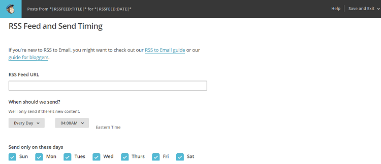 mailchimp rss feed and timing screenshot