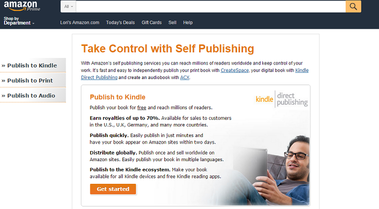 screenshot di self publishing di Amazon