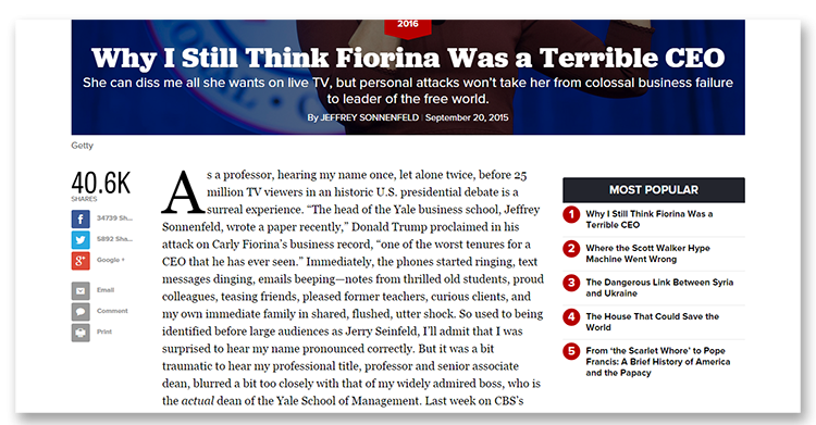 Taken From The Politico - News Website - You'll notice the Popular Stories Listed on the right.