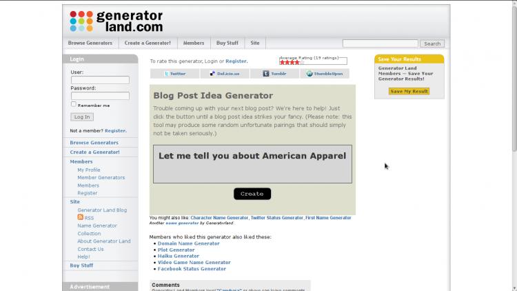 Blog Post Idea Generator by generatorland.com
