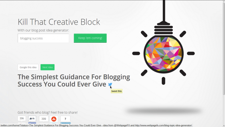 WebpageFX's Blog Topic Idea Generator