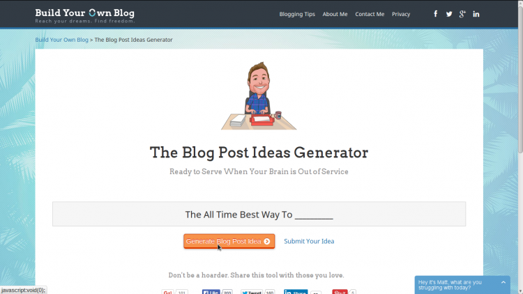 由buildyourownblog.net创建的Blog Post Ideas Generator