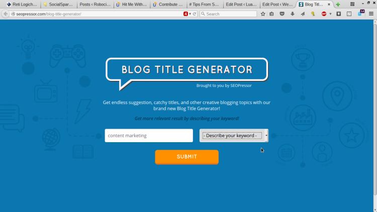 Generatore di titoli per blog di Seopressor
