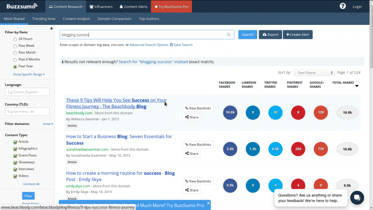 Using Buzzsumo to generate blog topic ideas