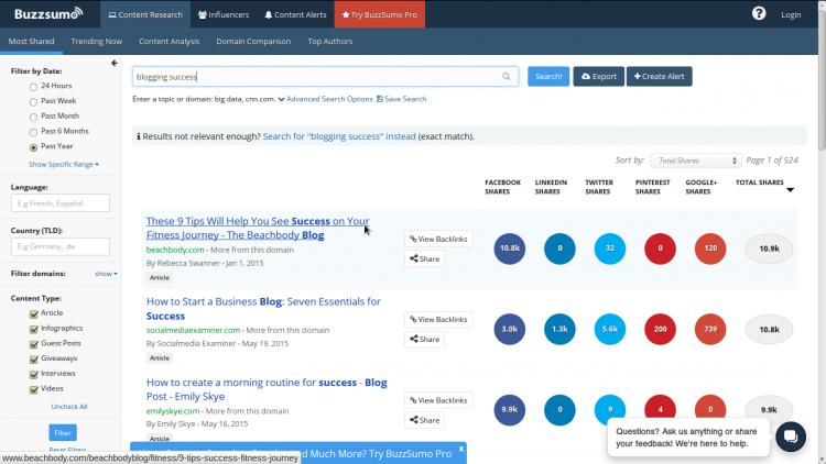 Using Buzzsumo to generate blog topic ideas