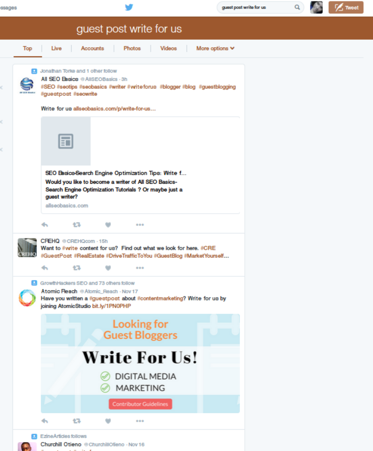 Twitter search for 'guest post write for us'