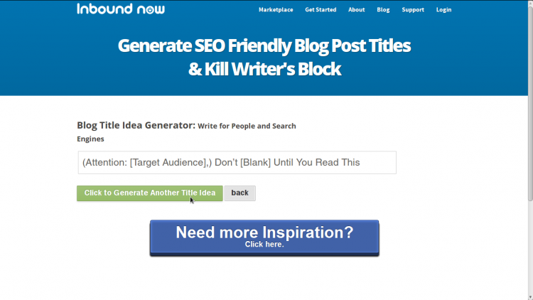 InboundNow tomonidan Blog Idea Generator