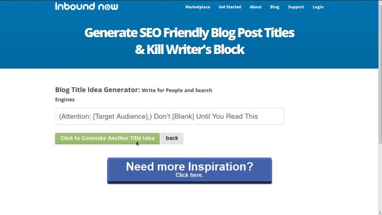Blog Idea Generator by InboundNow