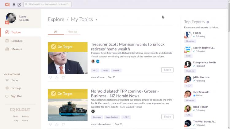 Verwenden Sie die Themen zu Klout, um Blog-Ideen zu sammeln