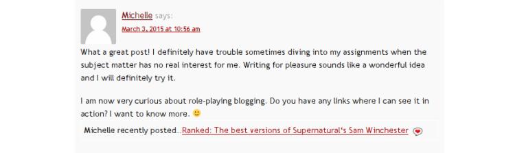 El comentario de Michelle en mi post invitado