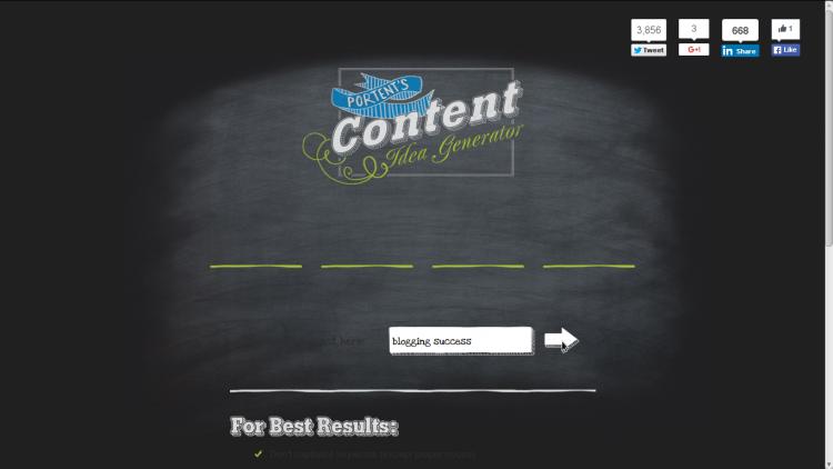 Generatore di idee per contenuti di Portent