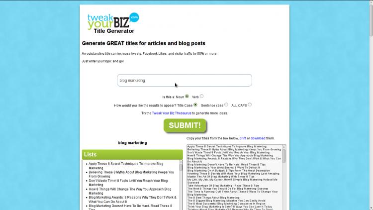 Tweak Your Biz's Title Generator