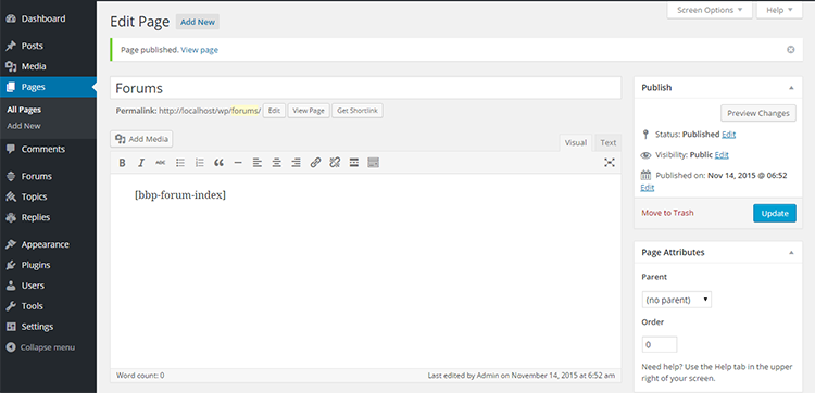 7C creating forums page after pasting Shortcode and clicking publish)