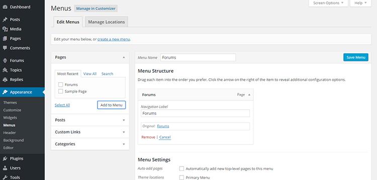 8B Adding Forums page to menu