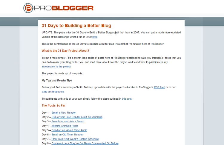 problogger 31 days sneeze page