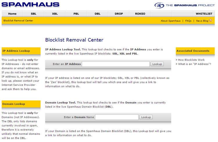 SpamHaus Blocklist removal Center