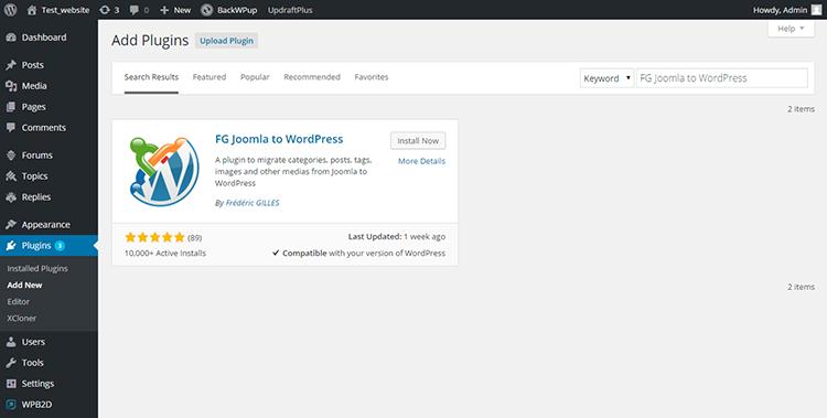 FG Joomla to WordPress