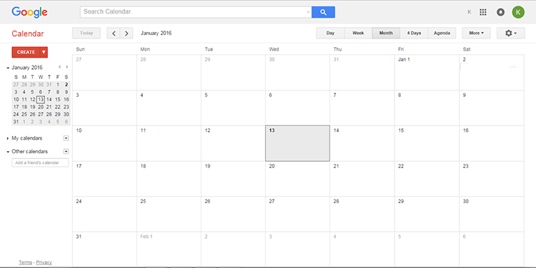 1 Google Calendar Interface