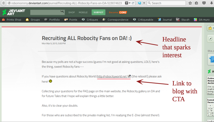 Recruiting Fans using DeviantART Journals