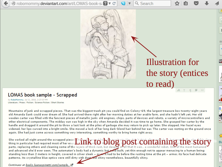 How I promoted my short story Scrapped using DeviantART Deviations