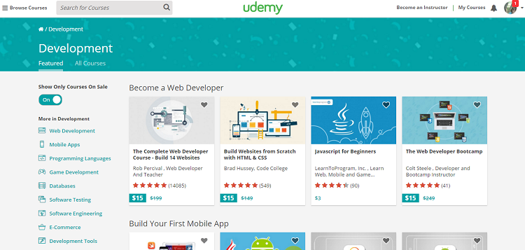 Udemy Online Web Dev Courses