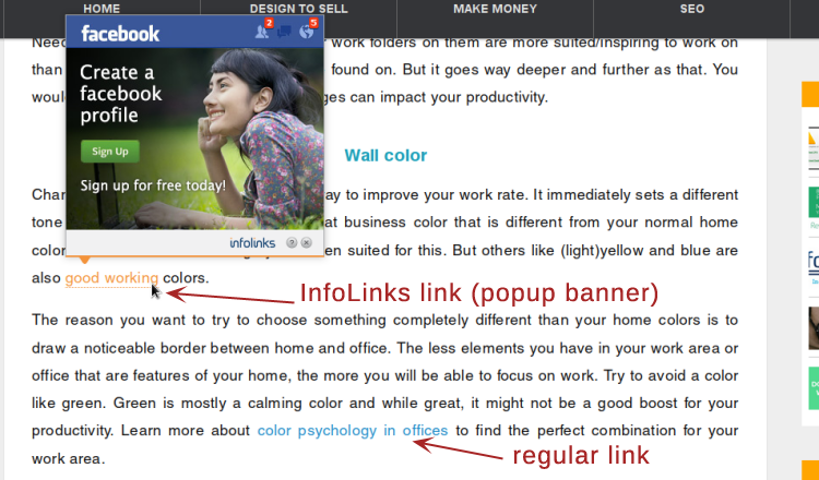 來自EartnWithAWebsite.com的示例:InfoLinks Links VS. 常規鏈接