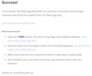 Crazy Egg's funnel guides blog readers on their journey to becoming customers.