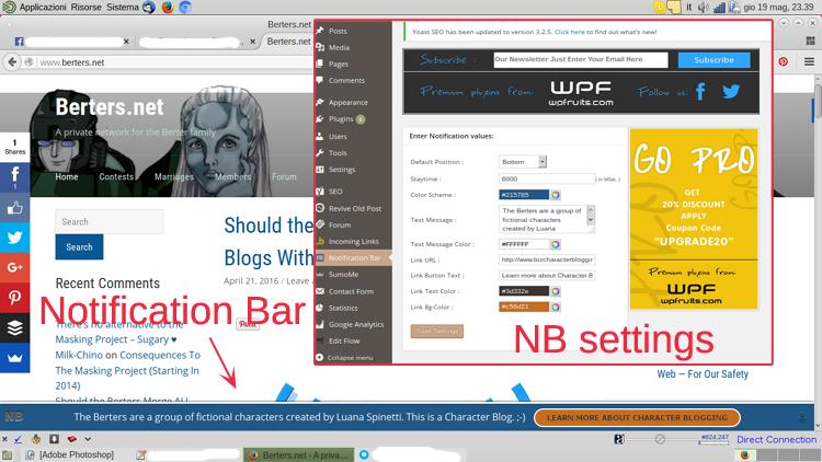 Notification Bar (NB) - How it looks & Settings