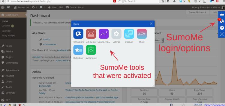 SumoMe seperti yang terlihat di situs
