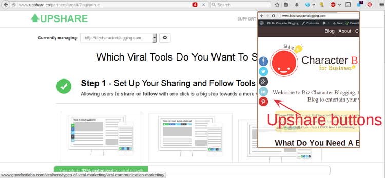Upshare Site Setup + Buttons Example