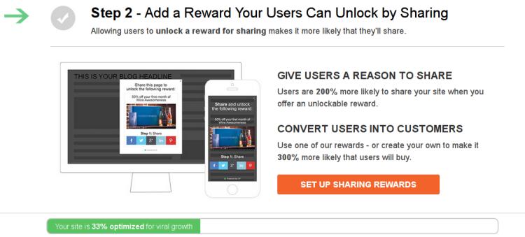 Upshare's Sharing Rewards feature