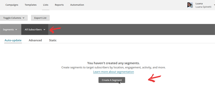 MailChimp Segmentation - Step 1
