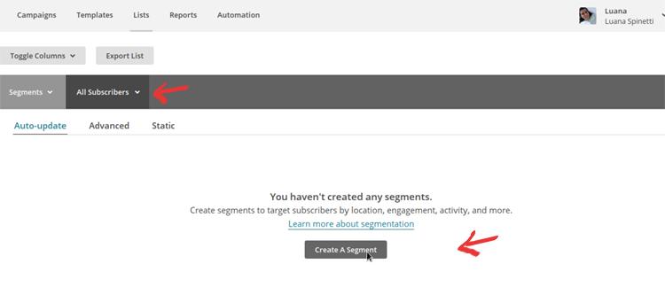 MailChimp Segmentation - Step 1