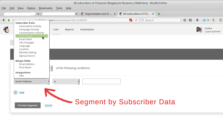 MailChimp Segmentation - Step 2