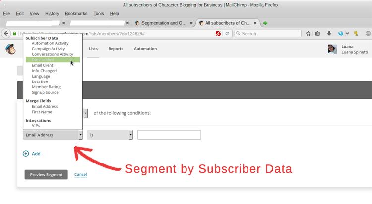 MailChimp Segmentation - Step 2