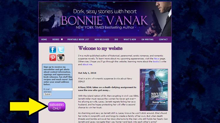 screenshot of bonnie vanak site