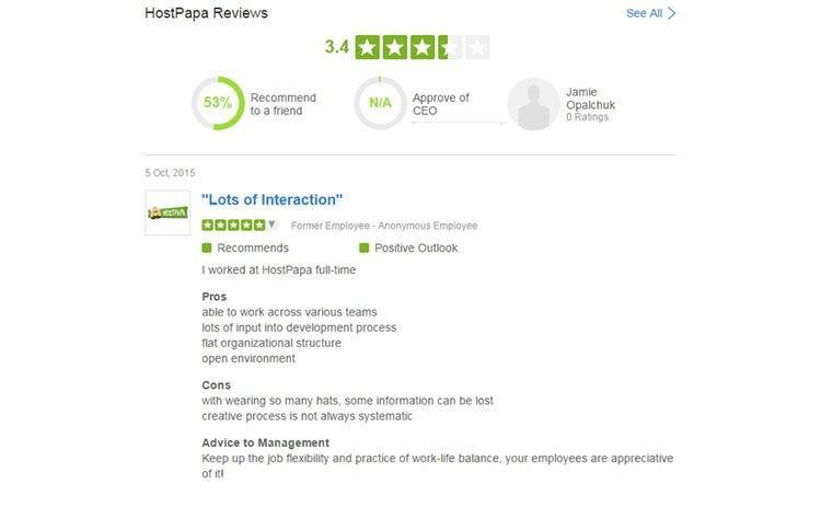 Recenzje stanowisk pracy HostPapa w witrynie Glassdoor.ca