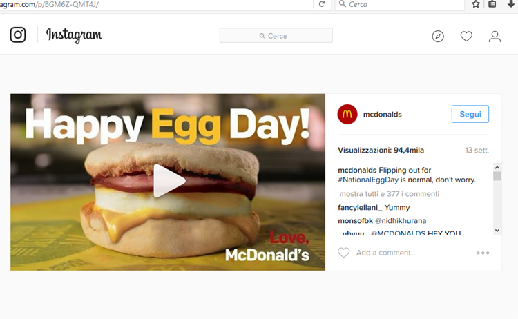 McDonald's branded Instagram post