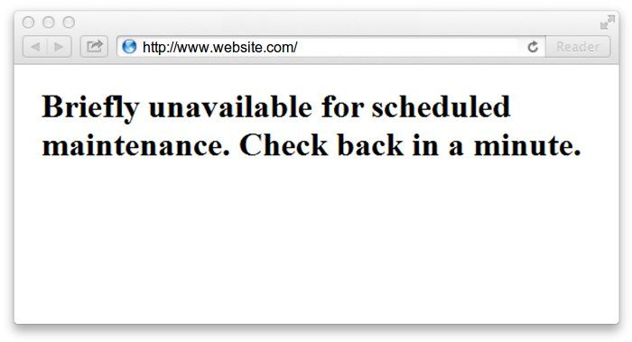 Unavailable for Scheduled Maintenance Error