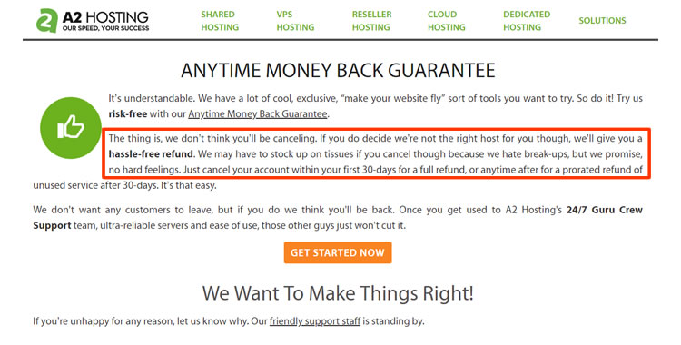A2Hosting anytime money back guarantee