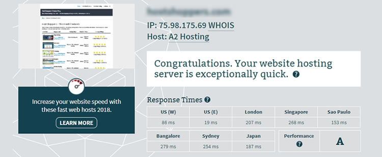 Compare Siteground speed with A2 Hosting