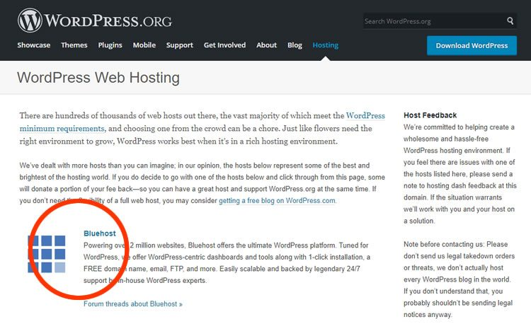 bluehost recommended by wp 750x458 - BlueHost Review: Pros & Cons, Speed Test, User Reviews  Cloud or shared Hosting