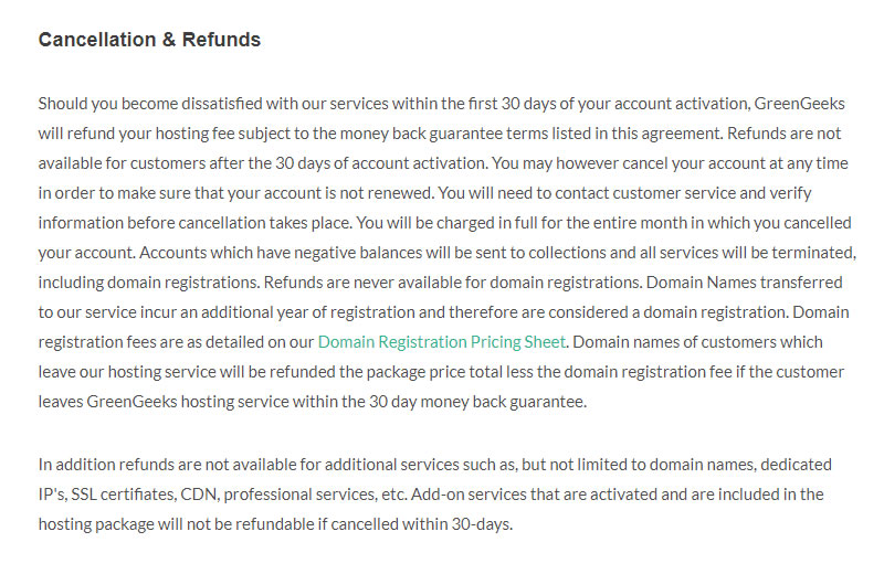 Greengeeks refund policy