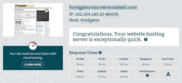 hostgator sever speed test 2 750x343 - Hostgator Cloud Hosting Review: Pros & Cons, Speed TestBlue host VS Host Gator