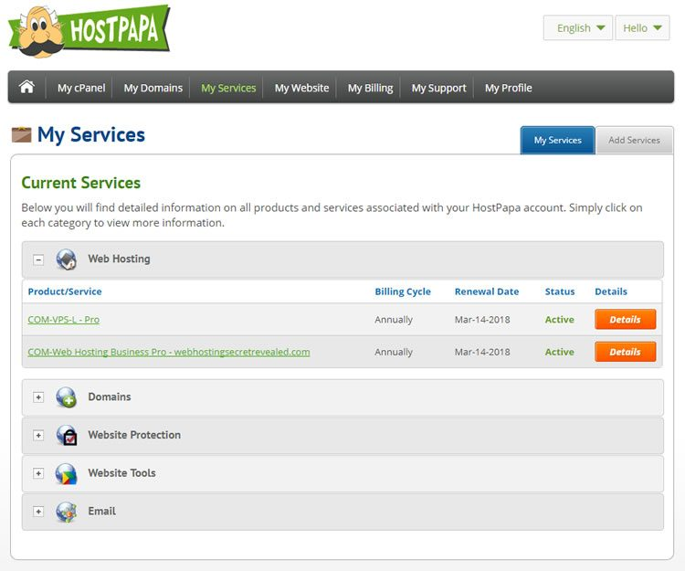 hostpapa dashboard 750x625 - HostPapa Review: Compare Prices, Pros & Cons and Host Uptime  Cloud or shared Hosting