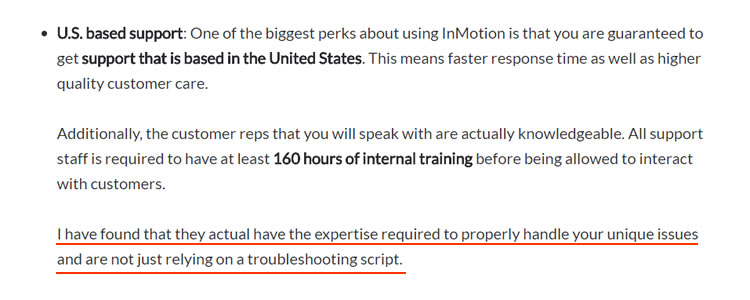 inmotion support staffs had at least 160 hours training before answering users call